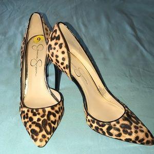 Jessica Simpson Leopard Heels, Sz 9